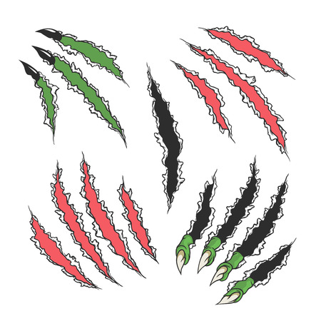 Claws scratches. Set on a white background. Vector