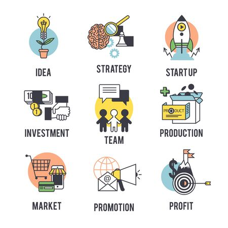 new business problems: Set the startup. Separate on a white background. Illustration