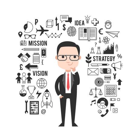 investor: Set for startup presentation. Manual pencil drawing