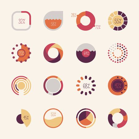 range of motion: Set of different pie charts. Modern infographics for presentations.
