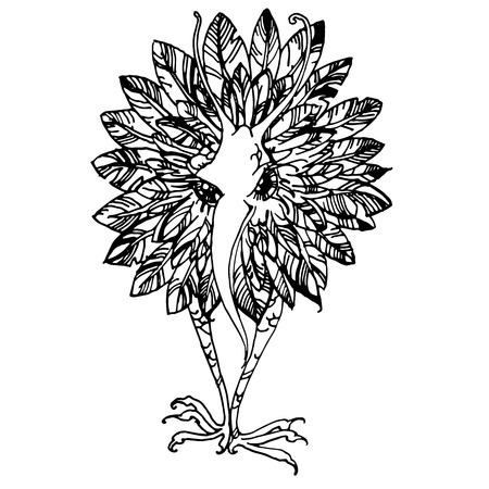 Bird and flower. Graphic drawing bird flower on a white background.