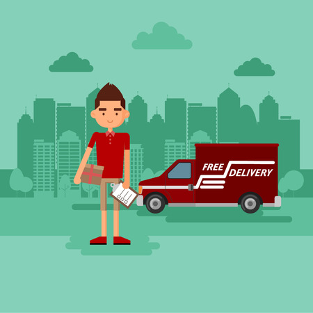 delivers: Guy delivers a parcel. The concept of delivery of parcels.