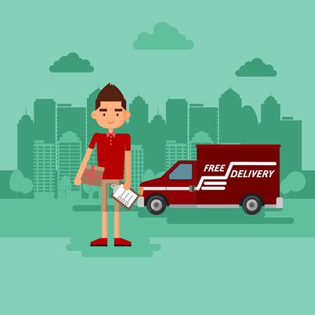 parcels: Guy delivers a parcel. The concept of delivery of parcels.