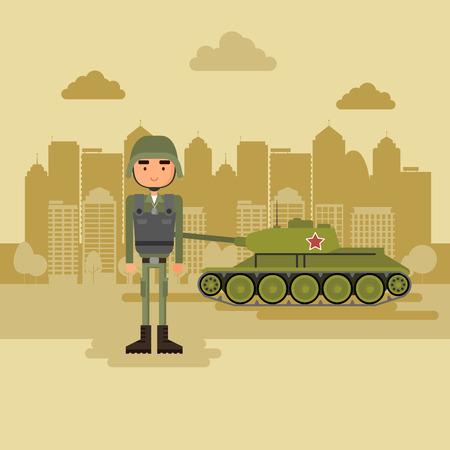 Military town in the background. Concept art military near the tank. Vector