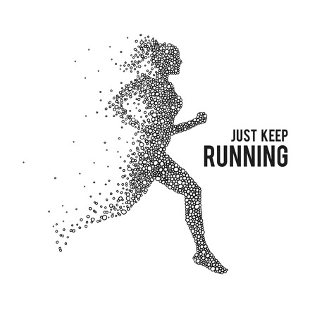 Running woman. The silhouette on a white background.