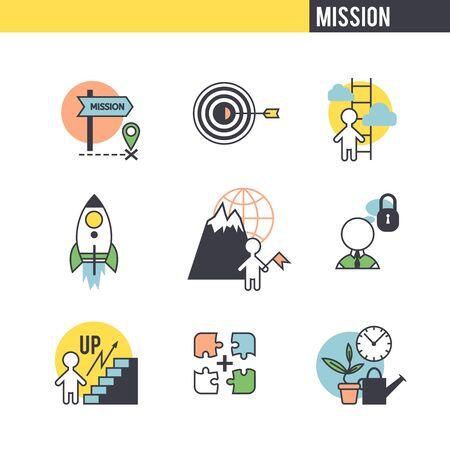 Startup concept. Set of icons on white background. Vector
