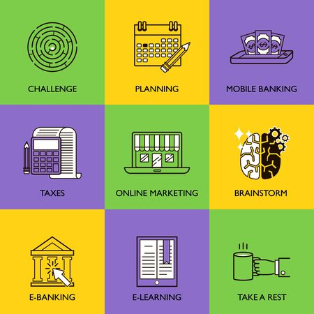 emarketing: The business concept. Set of icons on a colored background.