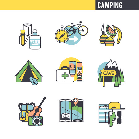 overcoming: Camping concept. Set of icons on white background. Illustration