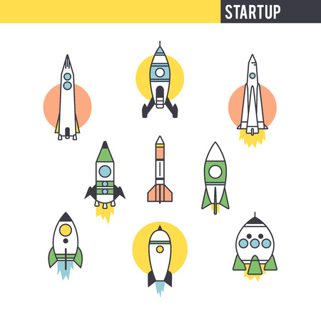startup: Startup concept. Set of icons on white background. Illustration