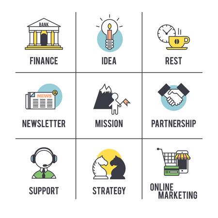 De business concept. Set van pictogrammen op een witte achtergrond.
