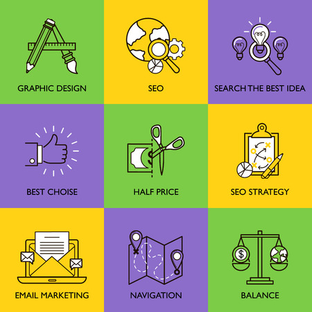 product development: The business concept. Set of icons on white background.