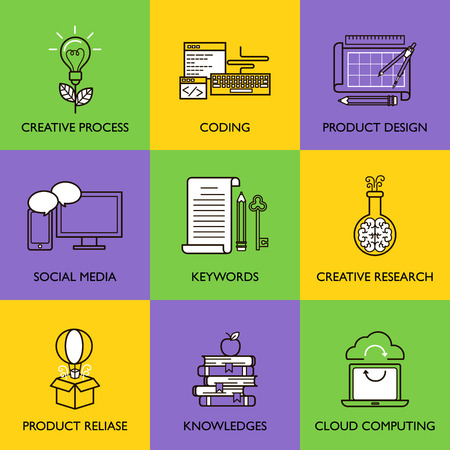 El concepto de negocio. Conjunto de iconos en el fondo blanco. Foto de archivo - 41367093