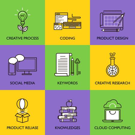 Il concetto di business. Set di icone su sfondo bianco. Vettoriali