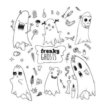 hoax: Set of funny ghosts. The individual elements on a white background.