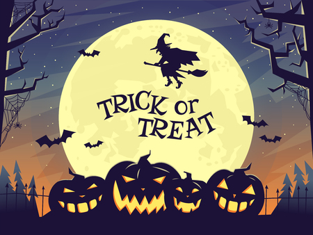 Halloween poster in dark tones with pumpkin. Ilustração