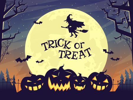besom: Halloween poster in dark tones with pumpkin. Illustration