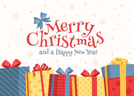 白い背景の上の碑文でメリー クリスマス ボックス。  イラスト・ベクター素材