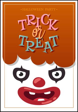 scary clown: Coupon with scary clown for theme parties. Illustration