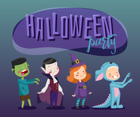 costume party: Poster for the costume party. Halloween for kids.