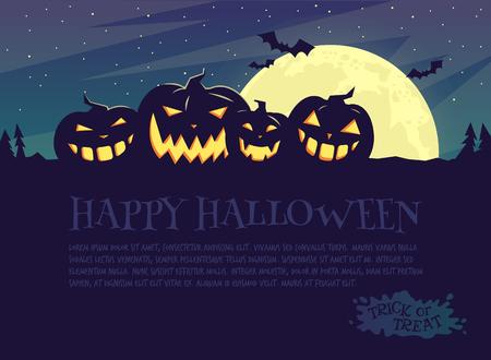 De affiche van Halloween van de partij. Donkerblauw met een volle maan. Stock Illustratie
