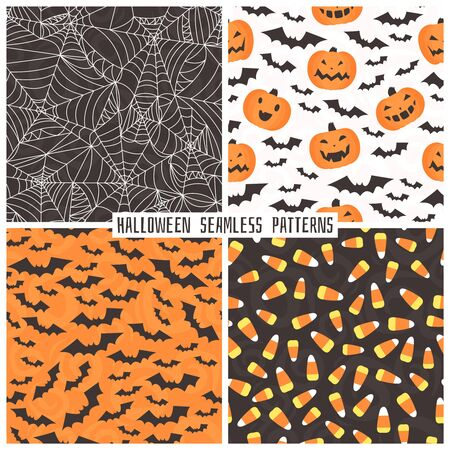 tunic: Set of backgrounds in the style of Halloween. Set of different Halloween characters. Illustration
