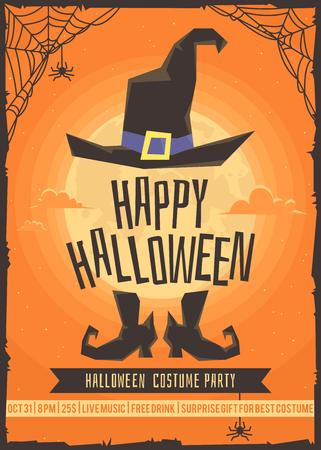 traje: Partido do traje do Dia das Bruxas. Cartaz para a festa a fantasia.