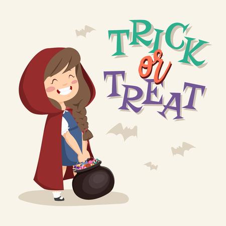 tratar: Trick or Treat kids. Girl with a pot on a white background. Ilustração