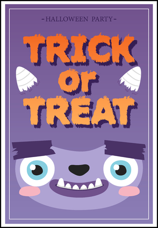 toothy: Trick or Treat flyer. Cheerful toothy monster Illustration