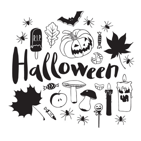 De Halloween Patrón De Blanco Y Negro. Figuras Aisladas Dedicadas A ...