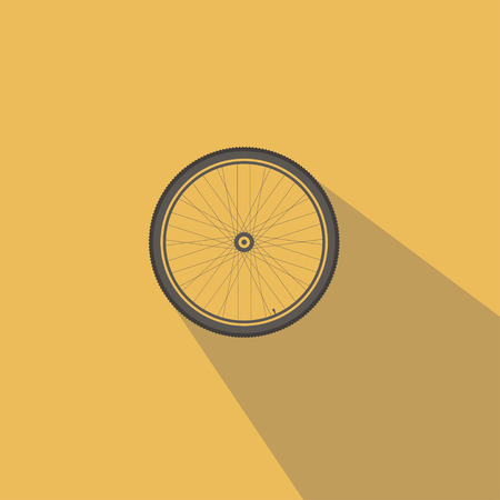 detached: Bicycle wheel. On a yellow background detached. Illustration