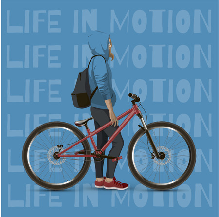 mtb: The girl on the mtb bike. With text on a blue background.