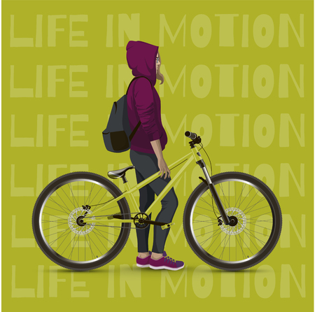 mtb: Young girl with a bicycle. Background with text and green color. Illustration