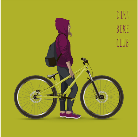 Young girl with a bicycle. Background with text and green color. Illustration