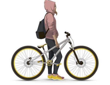 Girl with MTB bike. On a white background realistic. Illustration
