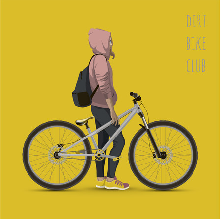Girl with bicycle. Color background with text. Illustration