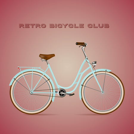 insulate: Retro Bicycle on a color background. Detailed illustration with text.