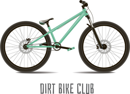mtb: Sports bike. Detached with text on a white background. Illustration