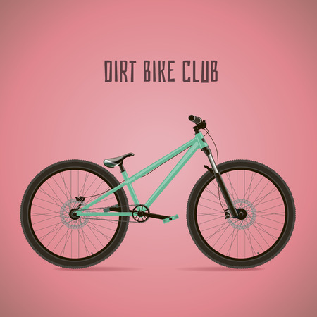 hand crank: Sports bike. Detached with text on a pink background. Illustration