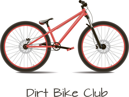 dirt bike: Dirt bike club. Bike detached on a white background with the text.