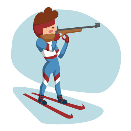 Biathlete on the slopes, preparing to fire. Standing on a white-blue background. Illustration