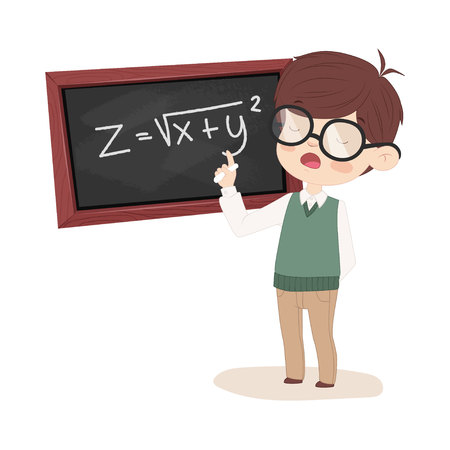 solves: The student at the Board solves the equation. Boy with glasses painted in cartoon style.