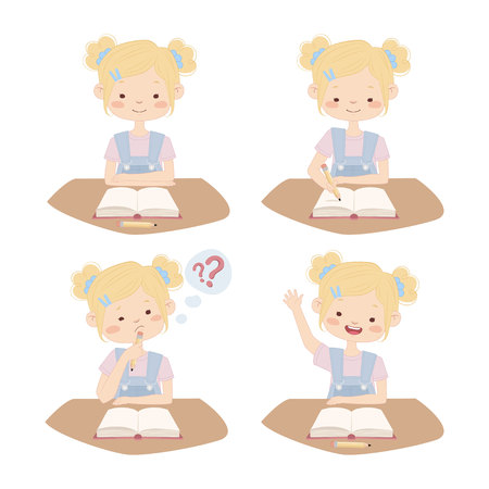 school kit: Set of illustrations of girl in the classroom. Four pictures of a girl sitting at a school desk.