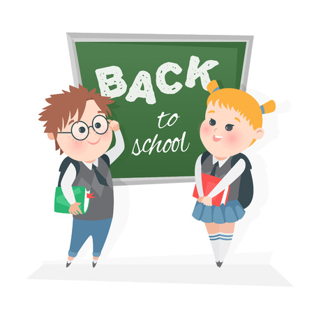 The schoolchild at the blackboard. Vector illustration. Children in class at the blackboard. Illustration