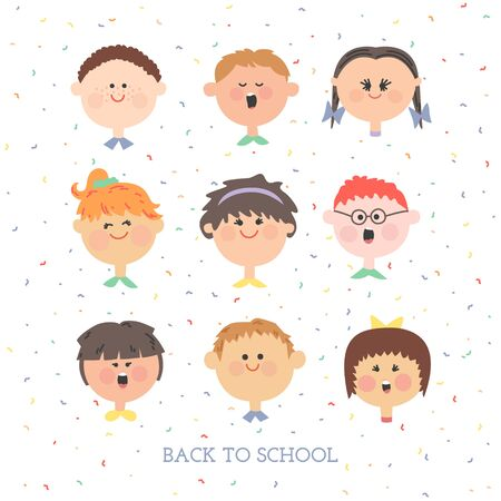 A set individuals. Boys and girls. Pupils. Children faces on white background. Illustration