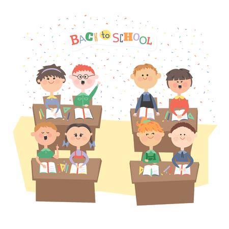 seeks: Children in the classroom. Children sit at their desks.