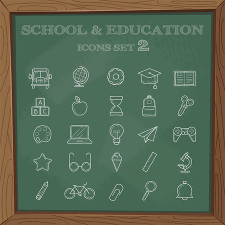 studying computer: School signs and symbols. A set of simple symbols on a blackboard.