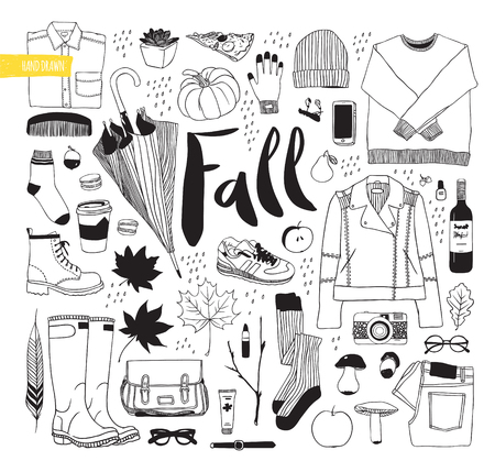 white clothes: Autumn set. Clothes, shoes and items. Illustration vector. Drawn by hand in black and white objects.