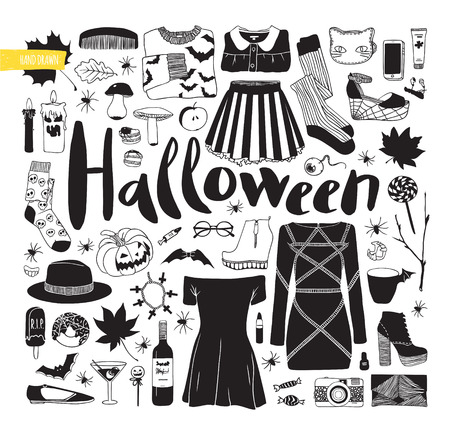 white clothes: Items for Halloween. Black and white vector illustration. Autumn set. Clothes, shoes and items.