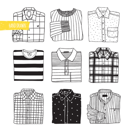 things: Shirts Big set of illustrations. Autumn theme. Black and white vector illustration.