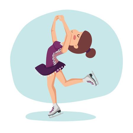 スケートの女の子。フィギュア スケート少女氷上トレーニングします。